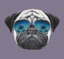 Pug Dog with sunglasses Kids Tee