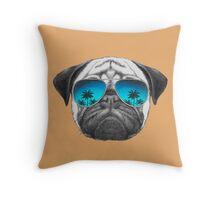 Pug Dog with sunglasses Throw Pillow