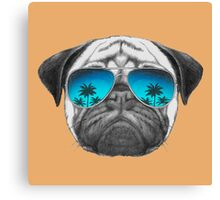 Pug Dog with sunglasses Canvas Print