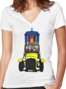 Time Lord Road Trip! Women's Fitted V-Neck T-Shirt