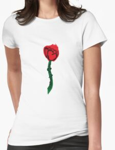 Heart Rose Womens Fitted T-Shirt