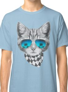Cat with mirror sunglasses and scarf Classic T-Shirt