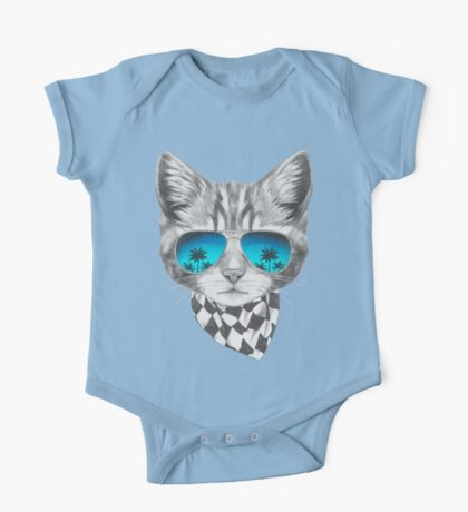 Cat with mirror sunglasses and scarf One Piece - Short Sleeve
