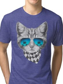Cat with mirror sunglasses and scarf Tri-blend T-Shirt