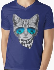 Cat with mirror sunglasses and scarf Mens V-Neck T-Shirt