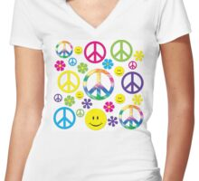 Hippie Peace signs n Smiley faces  Women's Fitted V-Neck T-Shirt