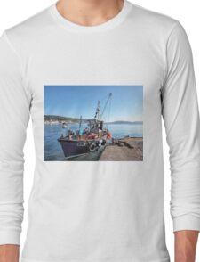 Fishing Boat At Lyme Regis Harbour Long Sleeve T-Shirt