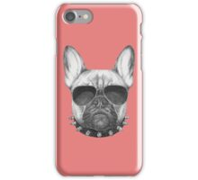 French Bulldog with collar and sunglasses iPhone Case/Skin