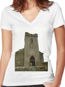 St. Columbe's Church, Clonmany, Donegal, Ireland Women's Fitted V-Neck T-Shirt