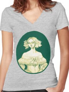 1840s lady  Women's Fitted V-Neck T-Shirt
