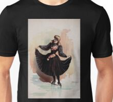 Performing Arts Posters Blond woman in black dress with roses holding up skirt 1562 Unisex T-Shirt
