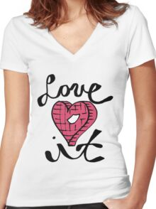 Love It Heart Women's Fitted V-Neck T-Shirt