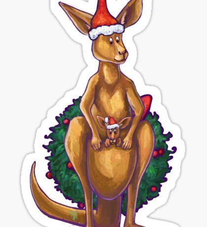 Kangaroo Christmas Silhouette Front Sticker