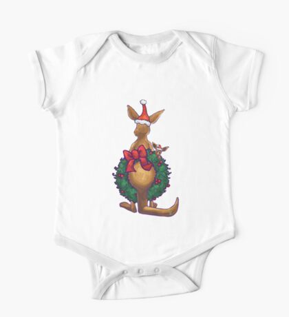 Kangaroo Christmas Silhouette Back One Piece - Short Sleeve