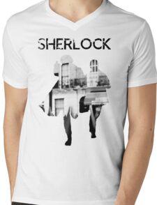 Monochrome Street Sherlock Mens V-Neck T-Shirt