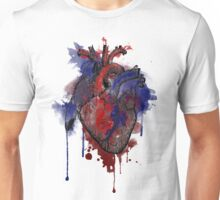 Digital Anatomical Watercolor Heart (Black Version) Unisex T-Shirt