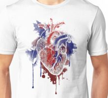 Digital Anatomical Watercolor Heart (White Version) Unisex T-Shirt