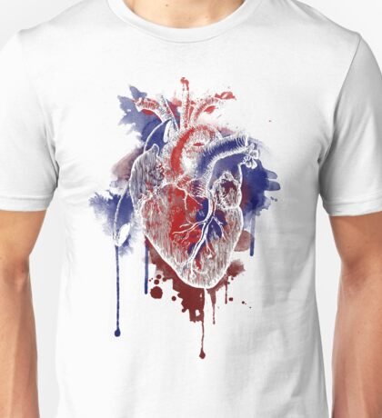 Digital Anatomical Watercolor Heart (White Version) Unisex T-Shirt