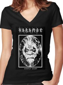 Black Metal Harambe Women's Fitted V-Neck T-Shirt