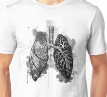 Digital Anatomical Watercolor Lungs Unisex T-Shirt