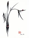 """""""Gentle Soul"""" Chinese japanese ink brush pen painting by Rebecca Rees"""