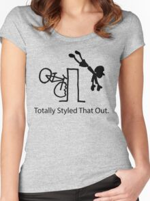 """MTB Cycling Crash """"Styled That Out"""" Cartoon Women's Fitted Scoop T-Shirt"""