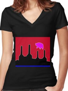 PINK FLOYD FLYING PIG OVER BATTERSEA Women's Fitted V-Neck T-Shirt