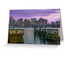 Boston Harbor at sunset. Greeting Card