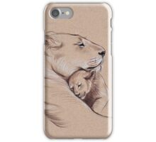 """""""A Mother's Pride"""" Lioness and cub original pencil drawing. iPhone Case/Skin"""