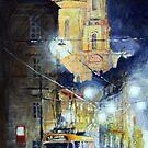 Midnight Tram  Prague  Karmelitska str by Yuriy Shevchuk