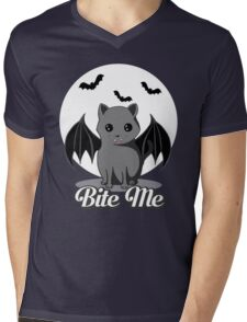 BITE ME VAMPIRE CAT - HALLOWEEN BAT CAT BY BLUETSHIRTCO Mens V-Neck T-Shirt
