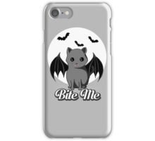 BITE ME VAMPIRE CAT - HALLOWEEN BAT CAT BY BLUETSHIRTCO iPhone Case/Skin