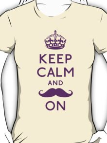 Keep Calm and Moustache On (violet) T-Shirt