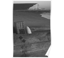 Seven Sisters from the beach, East Sussex Poster