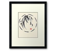 """Beauty"" sumie ink brush pen painting Framed Print"