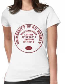 Williams-Brice Stadium, University of South Carolina Benchmark (red text) Womens Fitted T-Shirt