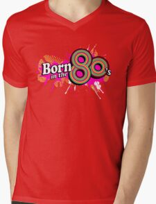 """Born in the 80's"" ladies multi-pink logo Mens V-Neck T-Shirt"