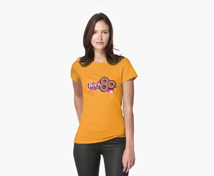 """Born in the 80's"" ladies multi-pink logo by Sarah Trett"