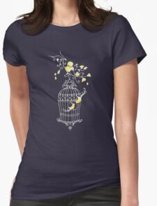 Birds open cage graphic drawing T-Shirt