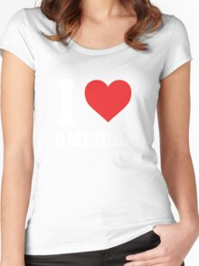 I Love Heart America - T Shirt Women's Fitted Scoop T-Shirt