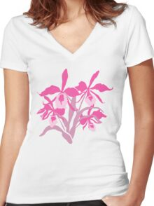 Pink graphic orchid cattleya Women's Fitted V-Neck T-Shirt