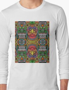 Freaky Tiki-lation (A Tessellation of freaky Tiki-ish faces) Long Sleeve T-Shirt