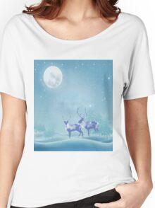 Snowy Winter Scene  Reindeer Animal Women's Relaxed Fit T-Shirt