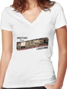Greetings From Carcosa Women's Fitted V-Neck T-Shirt