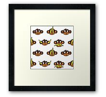 Monkey heads with bananas pattern Framed Print
