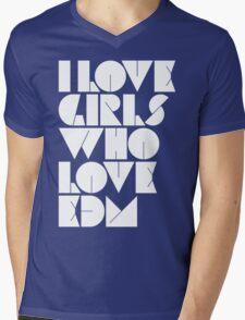 I Love Girls Who Love EDM (Electronic Dance Music) Mens V-Neck T-Shirt