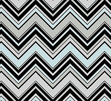 Zigzag (Chevron), Stripes, Lines - Black Blue Gray by sitnica