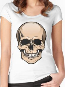 Human skull frontal view Women's Fitted Scoop T-Shirt