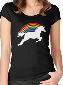 Retro Rainbow Unicorn Women's Fitted Scoop T-Shirt