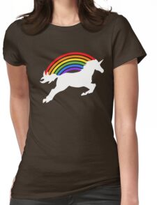 Retro Rainbow Unicorn Womens Fitted T-Shirt